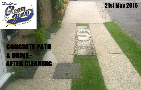 Concrete path drive after cleaning gleam team for Cleaning concrete paths