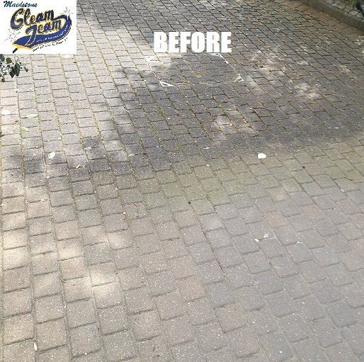 how to clean cement patio blocks
