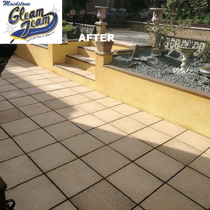 Patio paving slab cleaning gleam team for Garden decking maidstone