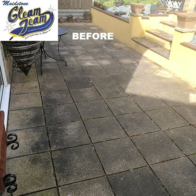 Patio before cleaning gleam team for Garden decking maidstone