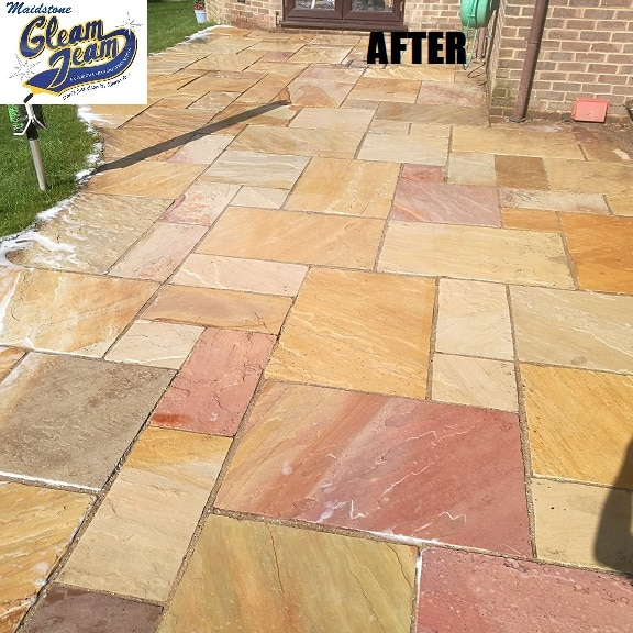 sandstone-patio-after-soft-washing-gravesend