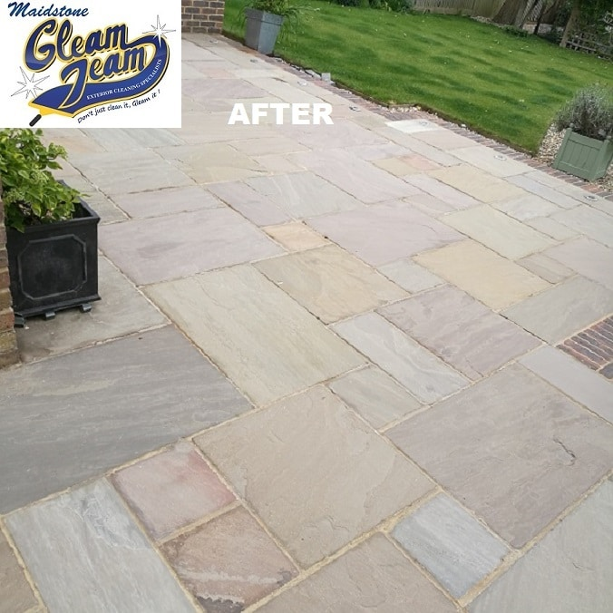 Indian-sandstone-patio-cleaning-soft-washing-sealing-maidstone-kent