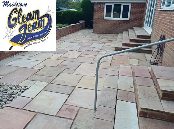 Indian-Sandstone-patio-slabs-cleaned-repointed-sealed-Kent